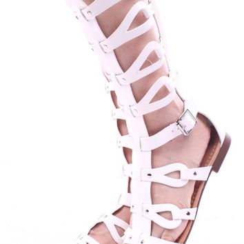 WHITE FAUX LEATHER GLADIATOR SANDALS