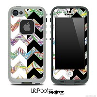 Abstract Color Swirls & Black/White Chevron Pattern Skin for the iPhone 5 or 4/4s LifeProof Case