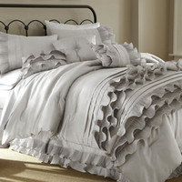 8 Piece Embellished Pearl White Comforter Set