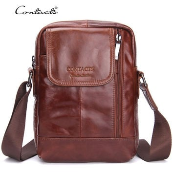 Casual Men Leather Messenger Bags Patchwork Shoulder Bag [9026421443]