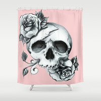 Pink Skull Shower Curtain by Ilola