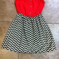 coral and chevron black and cream dress size small brand new Strapless