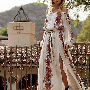 Free People Womens Bardot Printed Maxi