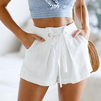 Tie up zipper plaid shorts women bottom Ring streetwear shorts Casual white zipper high waist shorts femme