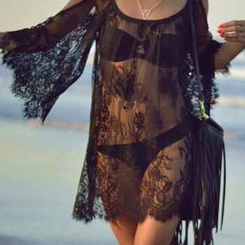Black Sheer Lace Flare Sleeve Cut-Out Shoulder Beach Cover Up