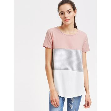 Multicolor Round Neck Short Sleeve Tee