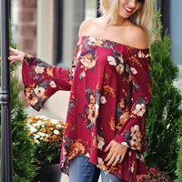 Kennedy Off The Shoulder Floral Print Top: Burgundy