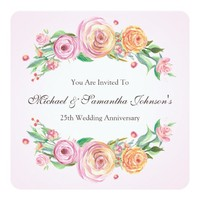25th Anniversary Party Elegant Floral Card