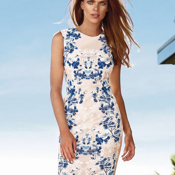 White Floral Print Sleeveless Bodycon Midi Dress
