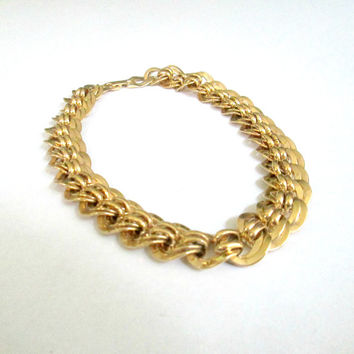 Vintage Napier Chunky Chain Necklace / 1980s Heavy Gold Link Statement Choker