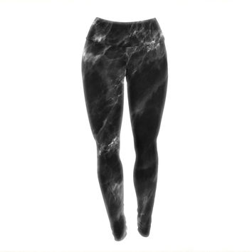 "Chelsea Victoria ""Black Marble"" Modern White Yoga Leggings"