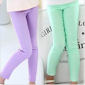Girl Leggings Classic Skinny Pencil Long Pants Solid Candy Color for Girls Middle Children Long Trousers Baby Kids