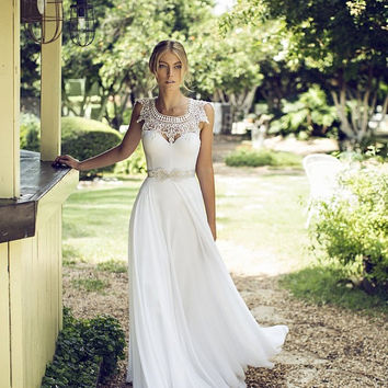 Lace Wedding Dress Lace Boho Wedding from BailynnBouNique on Etsy