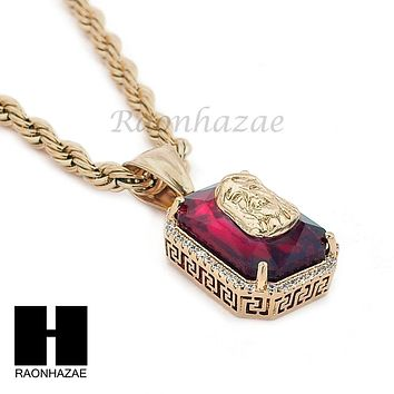 "STAINLESS STEEL ICED OUT RUBY JESUS FACE PENDANT 24"" ROPE CHAIN NECKLACE NP024"