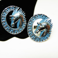 Blue Swank Horse CuffLinks - Large Oval Cuff Links - Blue Wreath with Horse Head - Vintage Retro Mod Men's Jewelry