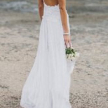 White Spaghetti Strap Slit Dress with Lace Detail