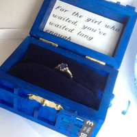 For The Girl Who Waited, TARDIS Wedding Ring Box With LED Light Handmade Tardis Engagement Ring Box Doctor Who