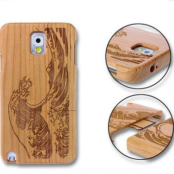 handmade bamboo wool carving waves iPhone 5s 6 6s plus case-170928