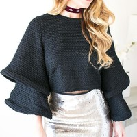 Ringing For You Bell Sleeve Crop Top - Black