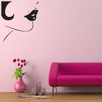 Wall decal decor decals art girl lips beauty salon barbershop cheek (m524)