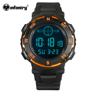Mens Watches Orange Dual Time Multi-function Sports Watches LED Digital Mens Clock Luxury Big Face Aviator
