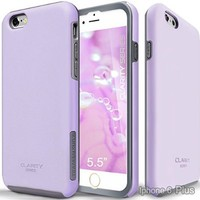 iPhone 6S Plus Case, Team Luxury Clarity Series Purple Ultra Defender Protective Case for Apple iPhone 6 Plus / 6S Plus - Lavender/ Gray