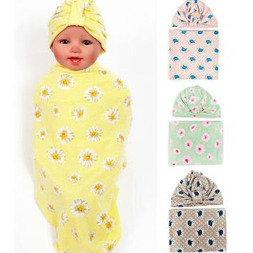 Baby Swaddle Blanket Set with Knot Top Hat Newborn Shower Gift Floral Parrern Hospital waddle set with cap Cotton 1set