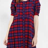 Urban Outfitters - Cooperative Plaid Bibbed Babydoll Dress