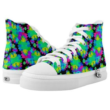 Modern Floral Printed High Top Shoes Printed Shoes