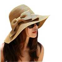 Outop Fashion Korean Style Floppy Wide Brimmed Summer Beach Bow Hat Women's Straw Sun Hat Cap