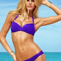 new 2014 summer fashion sexy metal decoration fold design hung neck three-point swimsuit/S-L