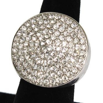 """1.10"""" silver clear round crystal pave stretch cocktail ring prom bridal"""