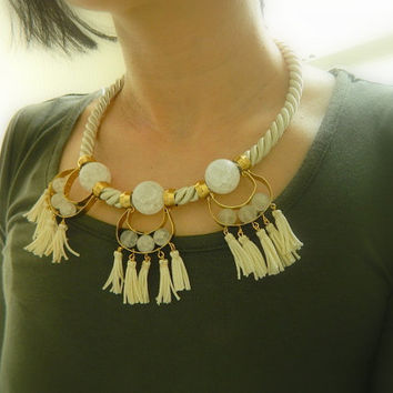 OOAK, Rope Necklace,Nautical necklace, Fringe bib, statement necklace, quartz and brass,tassel necklace,Tribal necklace,Chunky necklace,boho