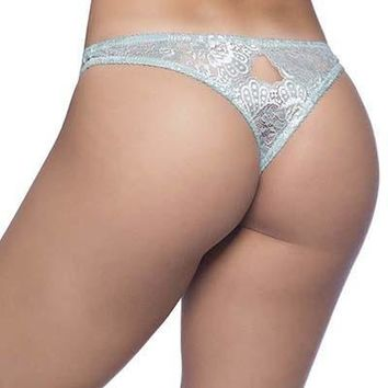 Sexy Lace Thong With Scalloped Edge Keyholes
