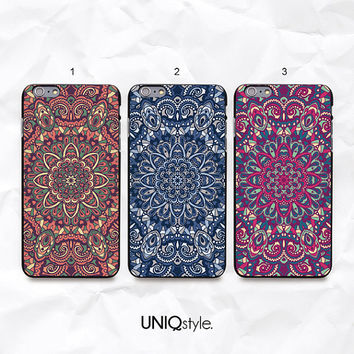 "iPhone 6 Mandala floral pattern phone case - blue flower iPhone 6 4.7"" back case - purple floral iPhone 6 plus 5.5"" back cover - N15"