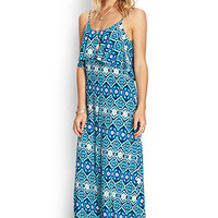 FOREVER 21 Worldly Ikat Maxi Dress Teal/Navy Large