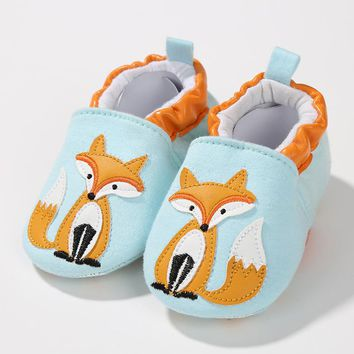 Spring Fall Infant Toddler Newborn Girls Boys Cotton Soft Sole Cute Crib Shoes Slipper Skid-Proof  Cartoon Baby Shoes Fox