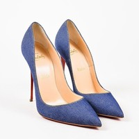 KUYOU Christian Louboutin Blue Denim White Leather Heel  So Kate  Pointy Pumps