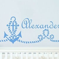 Wall Decal Boy Name Anchor Sticker Personalized Name Nursery Baby Kids Custom Name Vinyl Sticker Decals Nautical Decor Art Bedroom Design Interior C419