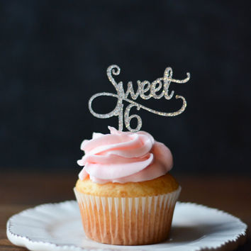 Cupcake Decorating Ideas For Sweet 16 : Glitter Sweet 16 Cupcake Toppers - Sweet from ...