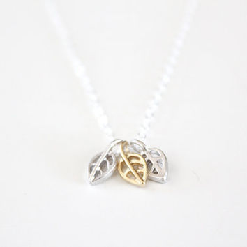 Leaf Necklace Tiny Gold and Silver Leaves Autumn by junghwa