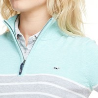 Stripe Cotton 1/4-Zip Sweater