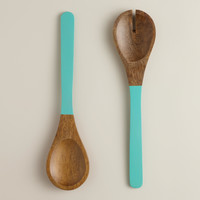 Aqua Mango Wood Dipped Salad Servers
