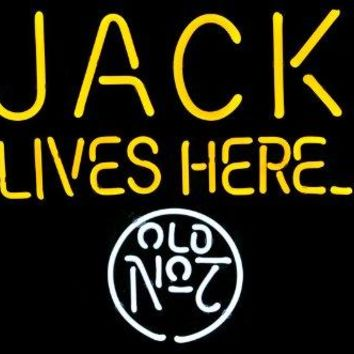 Jack Daniel's Lives Here No.7 Old Style Beer Bar Display Real Glass Tube Neon Light Sign 19'x15'' Handcrafted