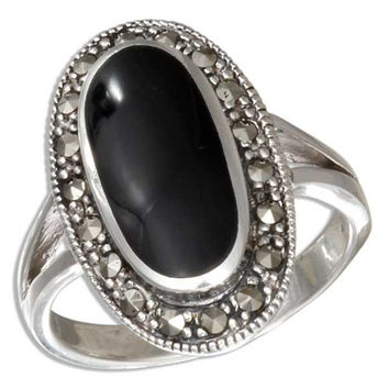 Oval Simulated Black Onyx Ring w/ Marcasite Border