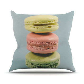 "Nastasia Cook ""Blue Macarons"" Dessert Throw Pillow"