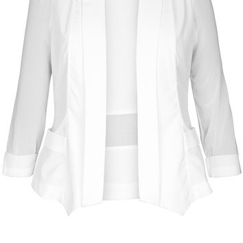 Shop Women's Plus Size Women's Plus Size Drapey Blazer Jacket - Ivory | City Chic USA