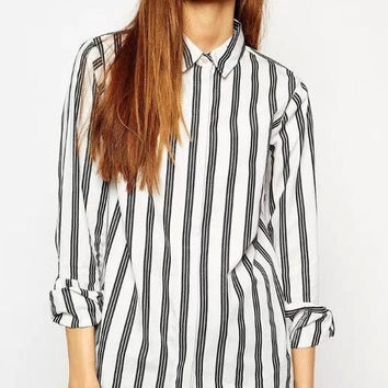 Vertical Stripe Button Long-Sleeve Collared Shirt