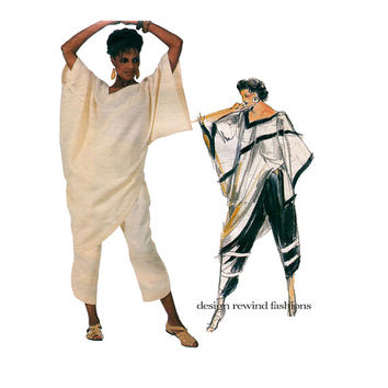 1980s VOGUE TUNIC TOP & Pants Pattern Asymmetrical Top Vogue 1566 Claude Montana Individualist Designer Bust 34 UNCuT Womens Sewing Patterns