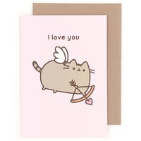 Buy Pusheen the Cat I Love You Cupid Greeting Card at ARTBOX